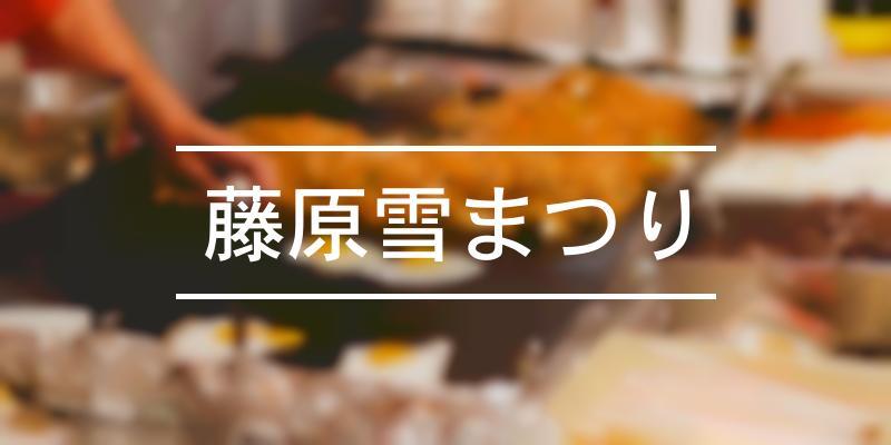 藤原雪まつり 2020年 [祭の日]